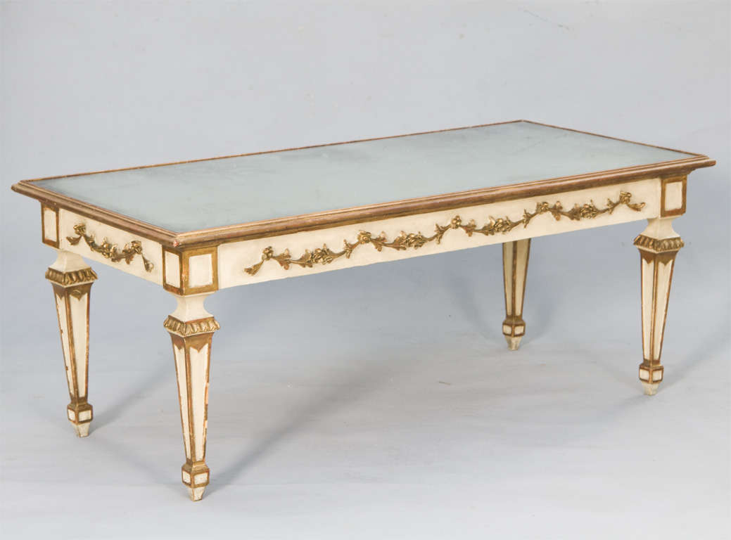 Painted And Parcel Gilt Coffee Table With Mirrored Top For