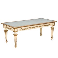 Painted and Parcel Gilt Coffee Table with Mirrored Top