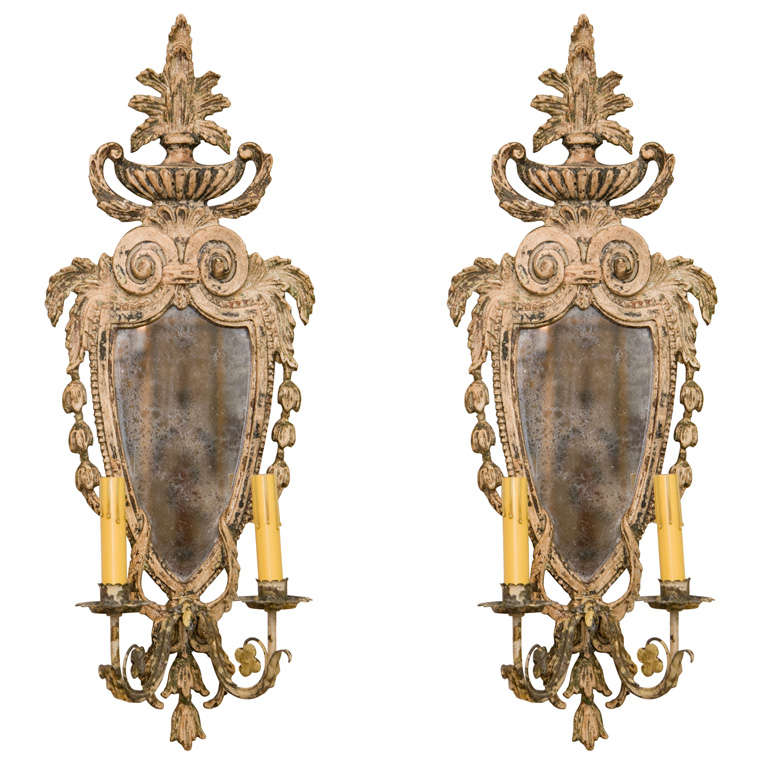 Pair of Carved Wood Sconces at 1stdibs