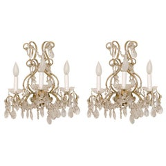 Pair of Italian Maria Theresa Style Beaded Sconces