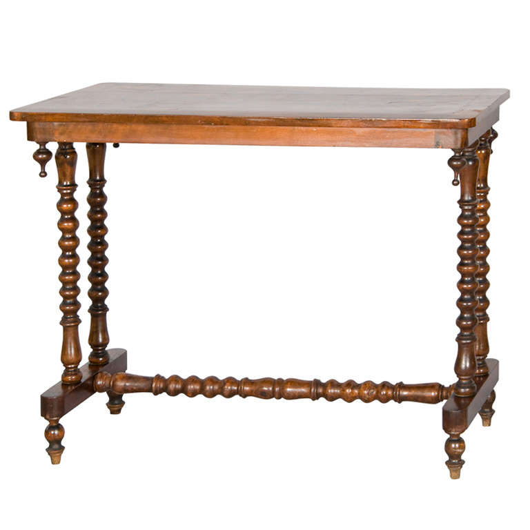 occasional table with geometric inlaid top on sausage