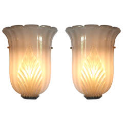 Pair Of Large Murano Sconces In Pulegoso Glass By Barovier