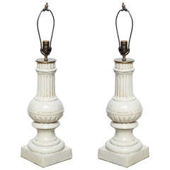 Pair of Porcelain Lamps with Ridges