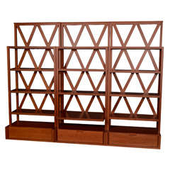 Set of Three Modernist Bookcases with Trellis Design by Maxalto