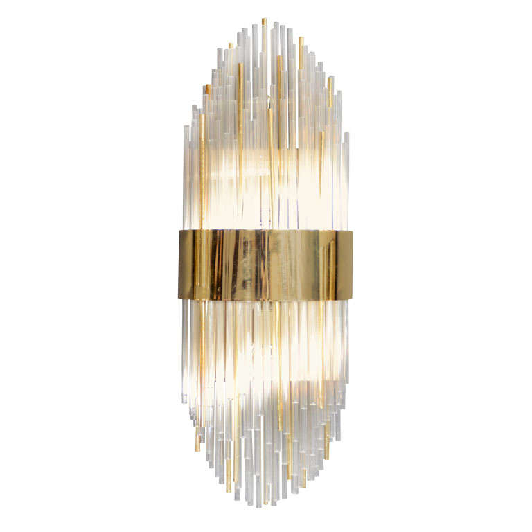 Glass Rod Wall Sconces : Modernist Glass Rod and Brass Banded Skyscraper Style Sconce at 1stdibs