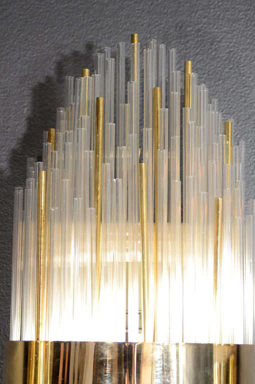 Modernist Glass Rod And Brass Banded Skyscraper Style Sconce At 1stdibs