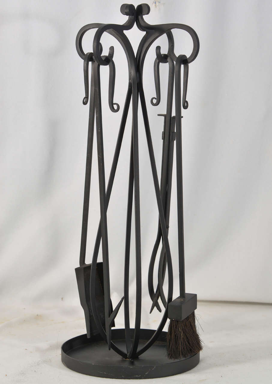 Hand Forged Wrought Iron Fireplace Tools At 1stdibs