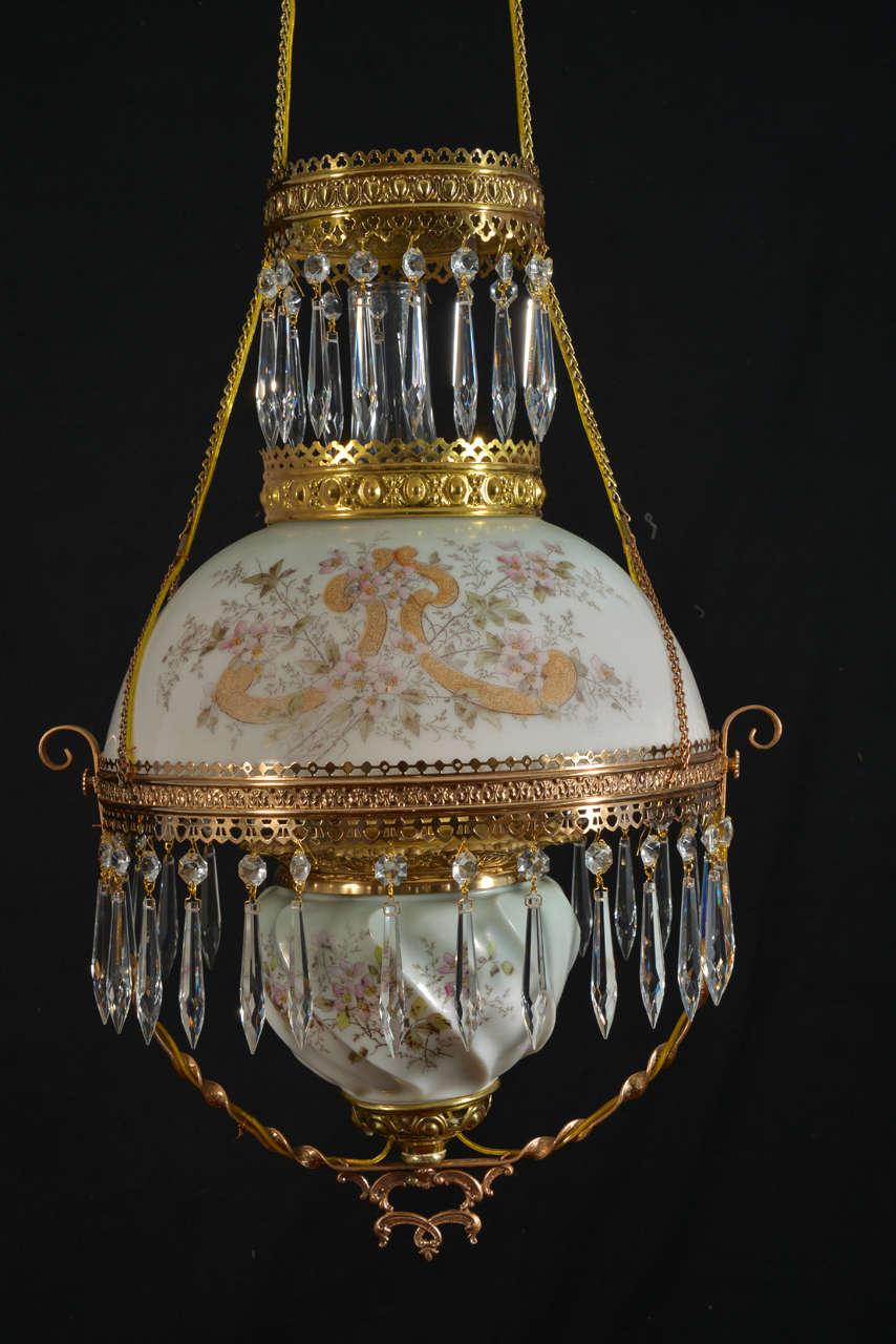 Hanging Oil Lamp, Electrified at 1stdibs