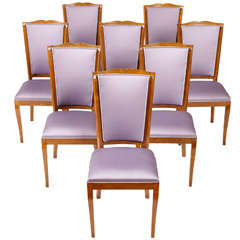 Tommaso Buzzi Set Of 8 Elegant High Dining Room Chairs