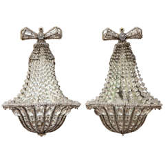 Pair of Early 20th Century Crystal and Iron French Sconces, 1920s