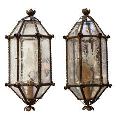 Pair of Italian Glass Sconces with Man and Woman Figures Decorations, 1940