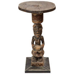 20th Century Carved Wood Tribal African Coffee Table, 1910