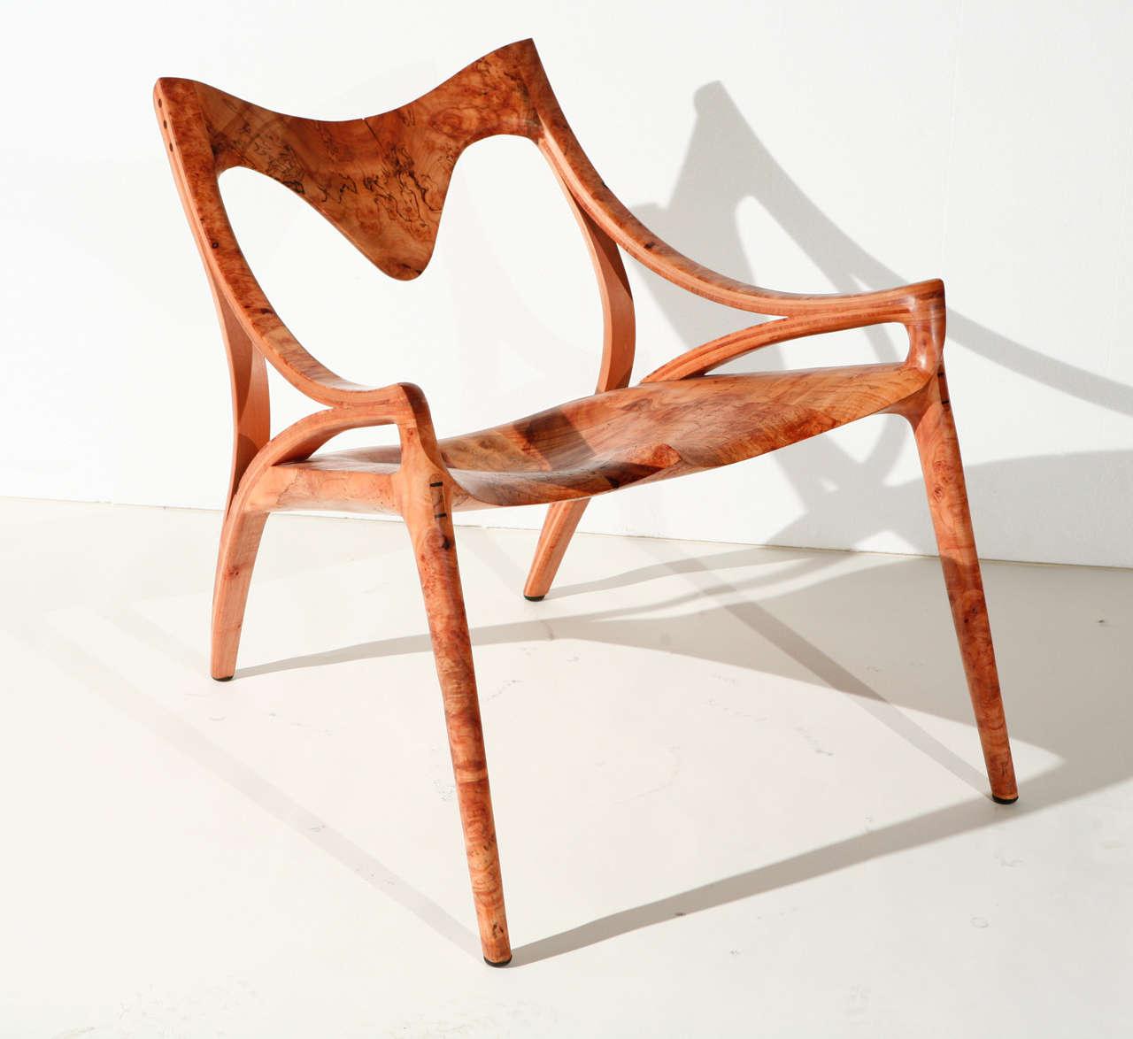 Michael Wilson 'Harley' Chair in maple burl