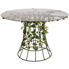 Italian Tole and Wood Table with Smoky Glass Top