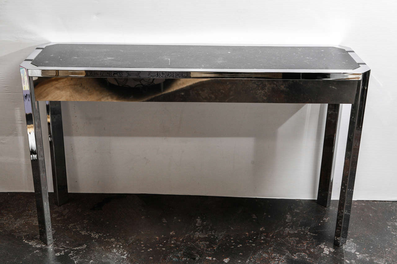 Sleek Paul Lazslo Console with fluted sides