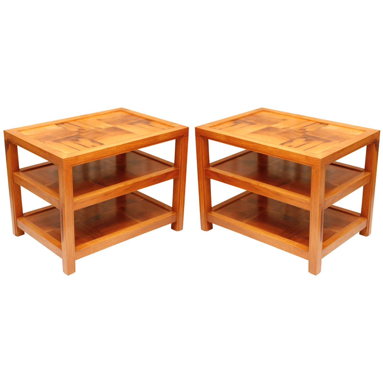 Pair Of Inlaid Wood Side Tables At 1stdibs