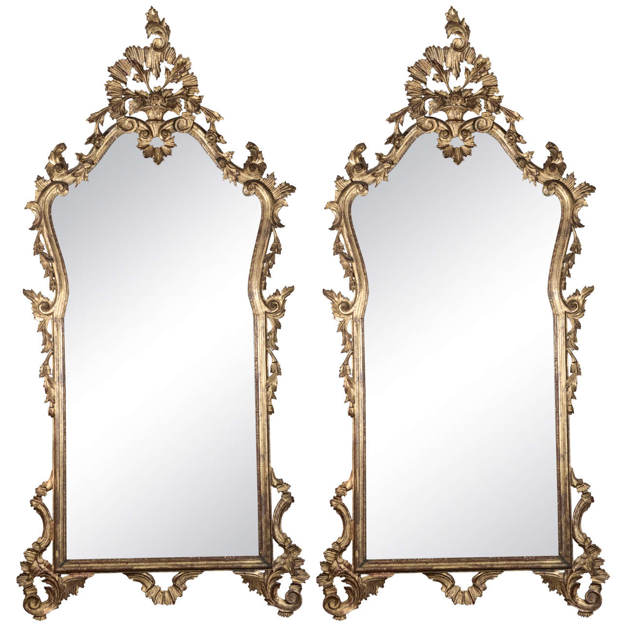 Late 19th c Italian Louis XV gilt wood carved mirrors 1