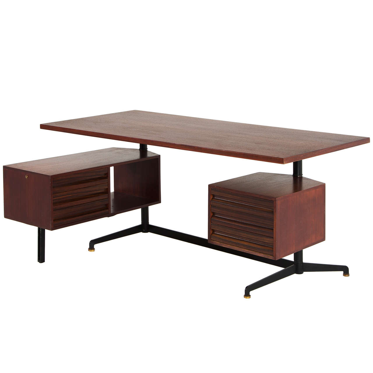 Early 1950s Executive Desk by Osvaldo Borsani in Rosewood
