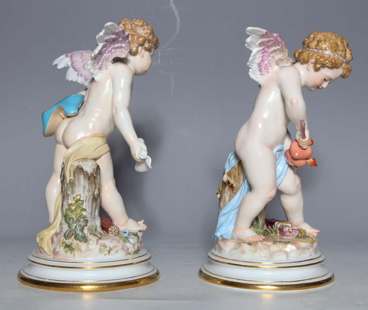 Rococo Revival Meissen Porcelain Large Devisenkinder Cupid Figurines with Markings 1860s For Sale