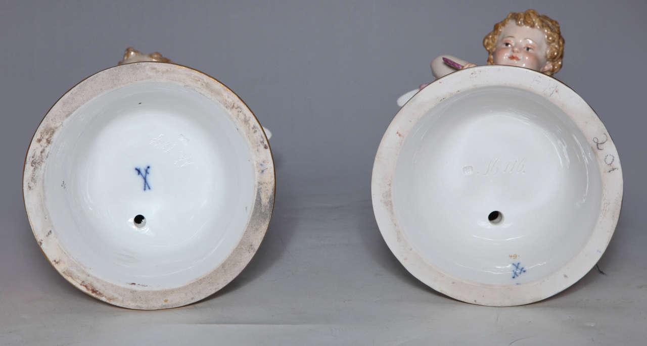 Meissen Porcelain Large Devisenkinder Cupid Figurines with Markings 1860s For Sale 3