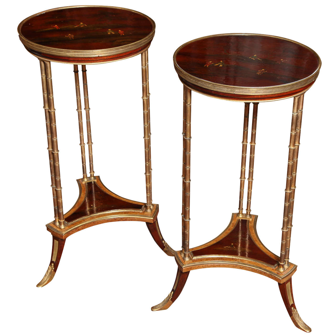 Pair of French Bronze and Lacquer Gueridon Tables 1