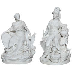 Pair of Sevres Biscuit Porcelain Groups of the Continents