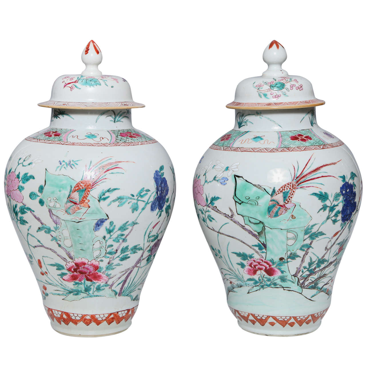Pair of 18th Century Chinese Export Porcelain Famille Rose Covered Jars
