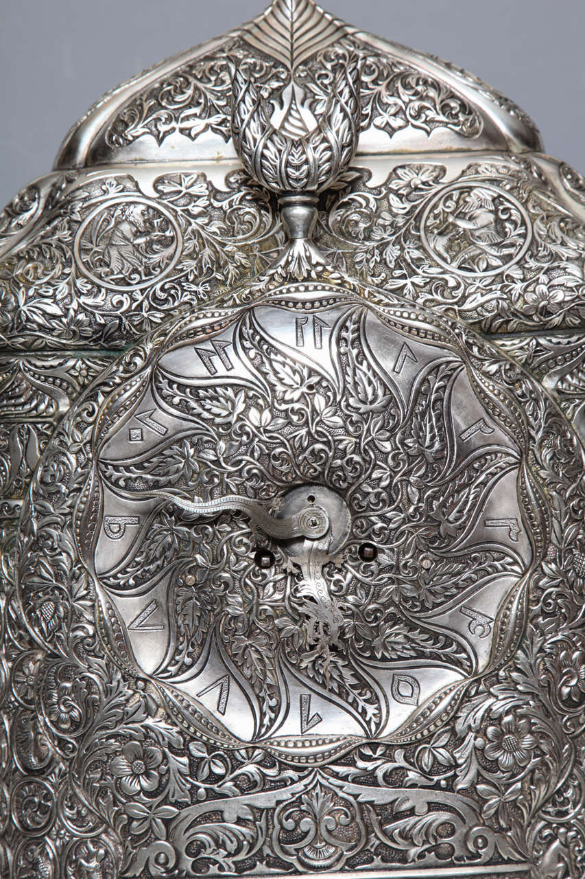 Hand-Crafted Antique French Orientalist/Islamic 3-Piece Silvered Bronze Clock Garniture For Sale