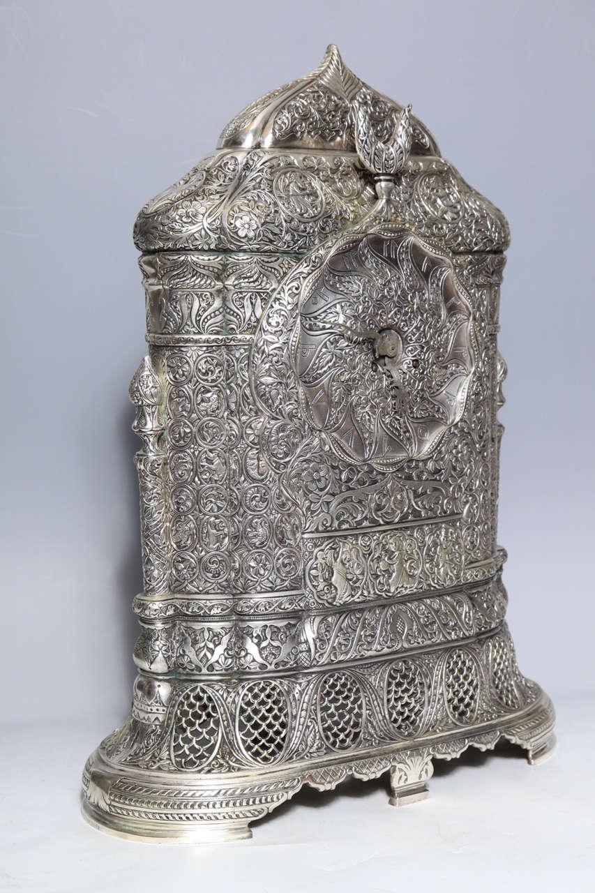 Antique French Orientalist/Islamic 3-Piece Silvered Bronze Clock Garniture For Sale 1