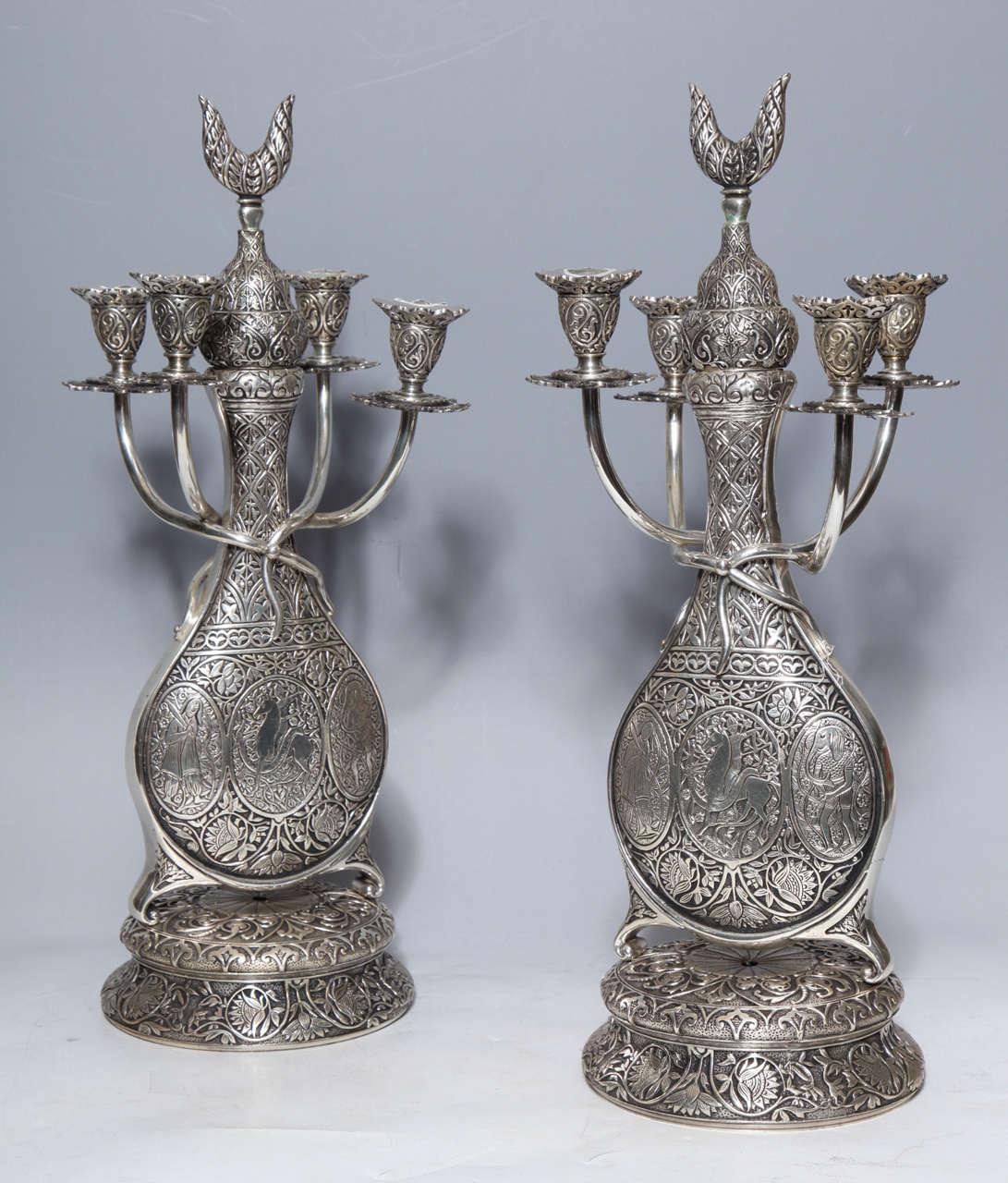 Antique French Orientalist/Islamic 3-Piece Silvered Bronze Clock Garniture For Sale 3