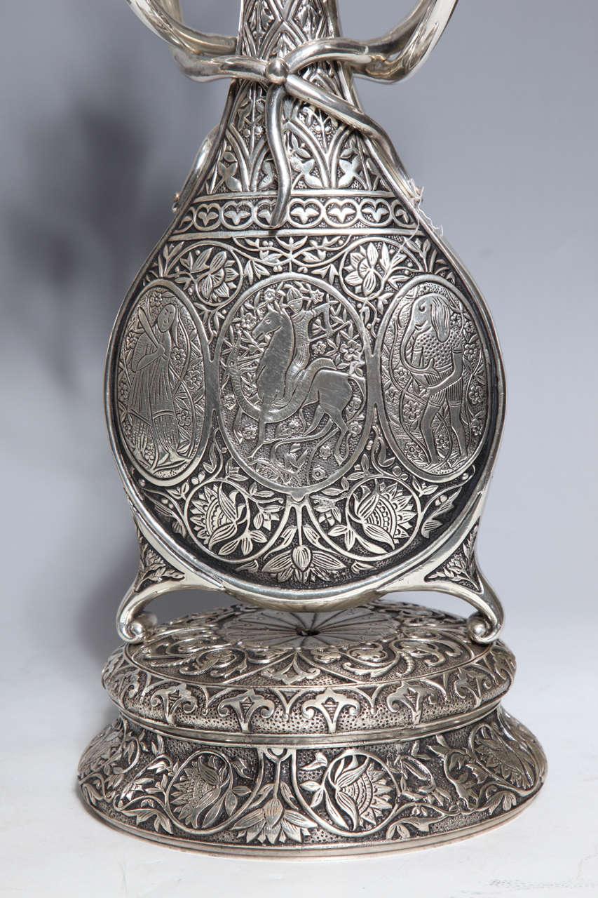 Antique French Orientalist/Islamic 3-Piece Silvered Bronze Clock Garniture For Sale 4