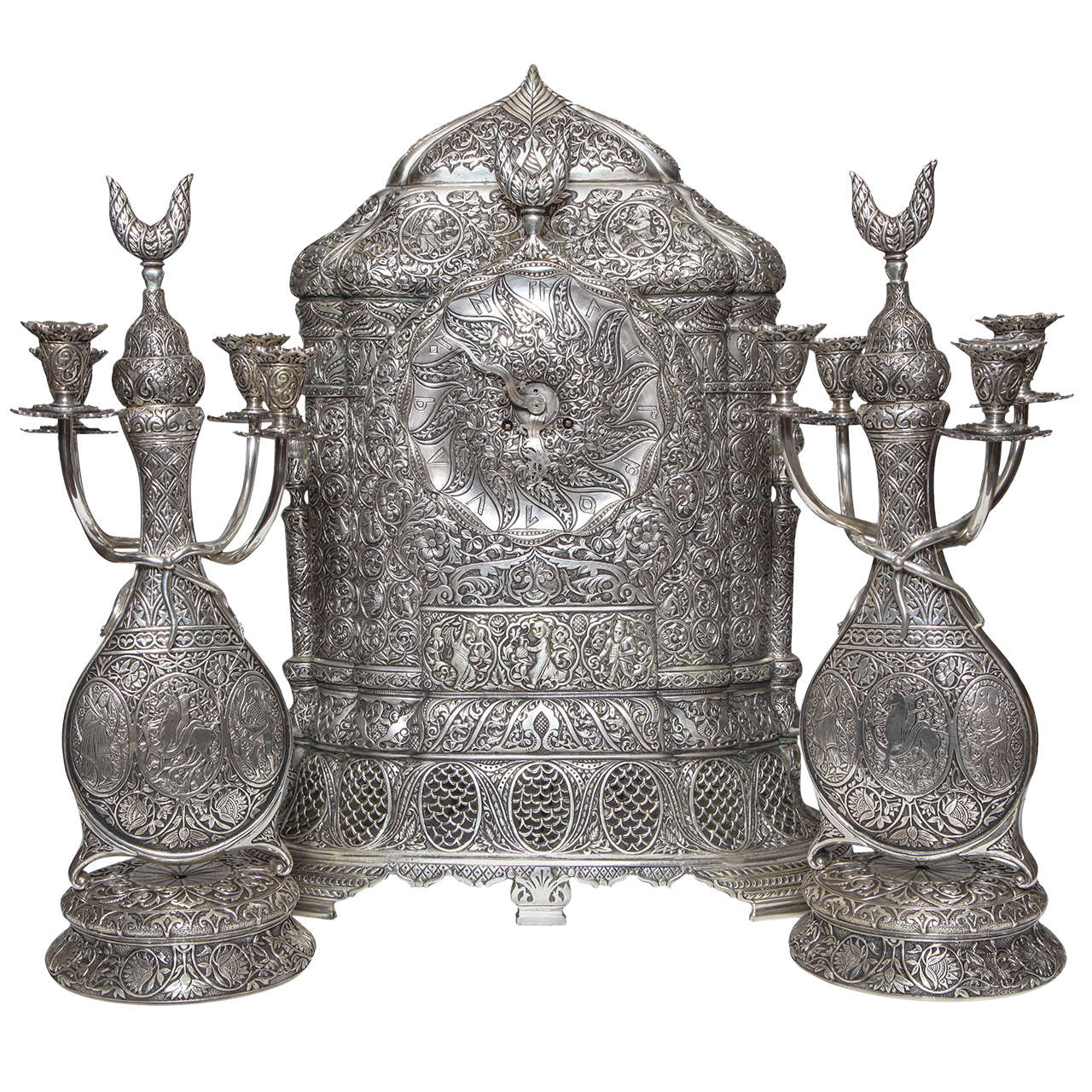 Antique French Orientalist/Islamic 3-Piece Silvered Bronze Clock Garniture