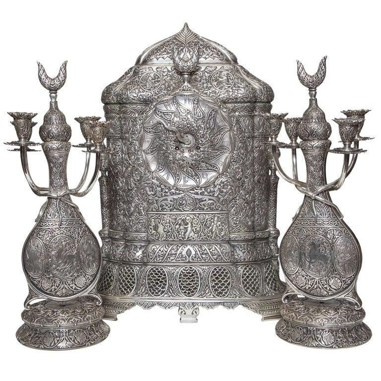 Antique French Orientalist/Islamic 3-Piece Silvered Bronze Clock Garniture For Sale