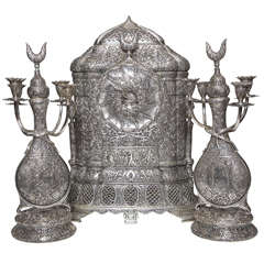 Monumental French, Three-Piece Silvered Islamic Clock Garniture with Candelabras