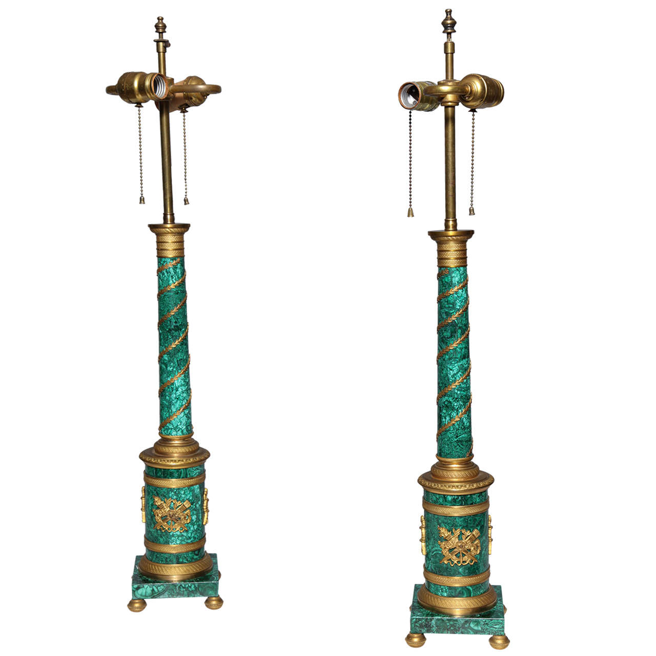 Pair of Russian Neoclassical Malachite and Gilt Bronze Column Table Lamps