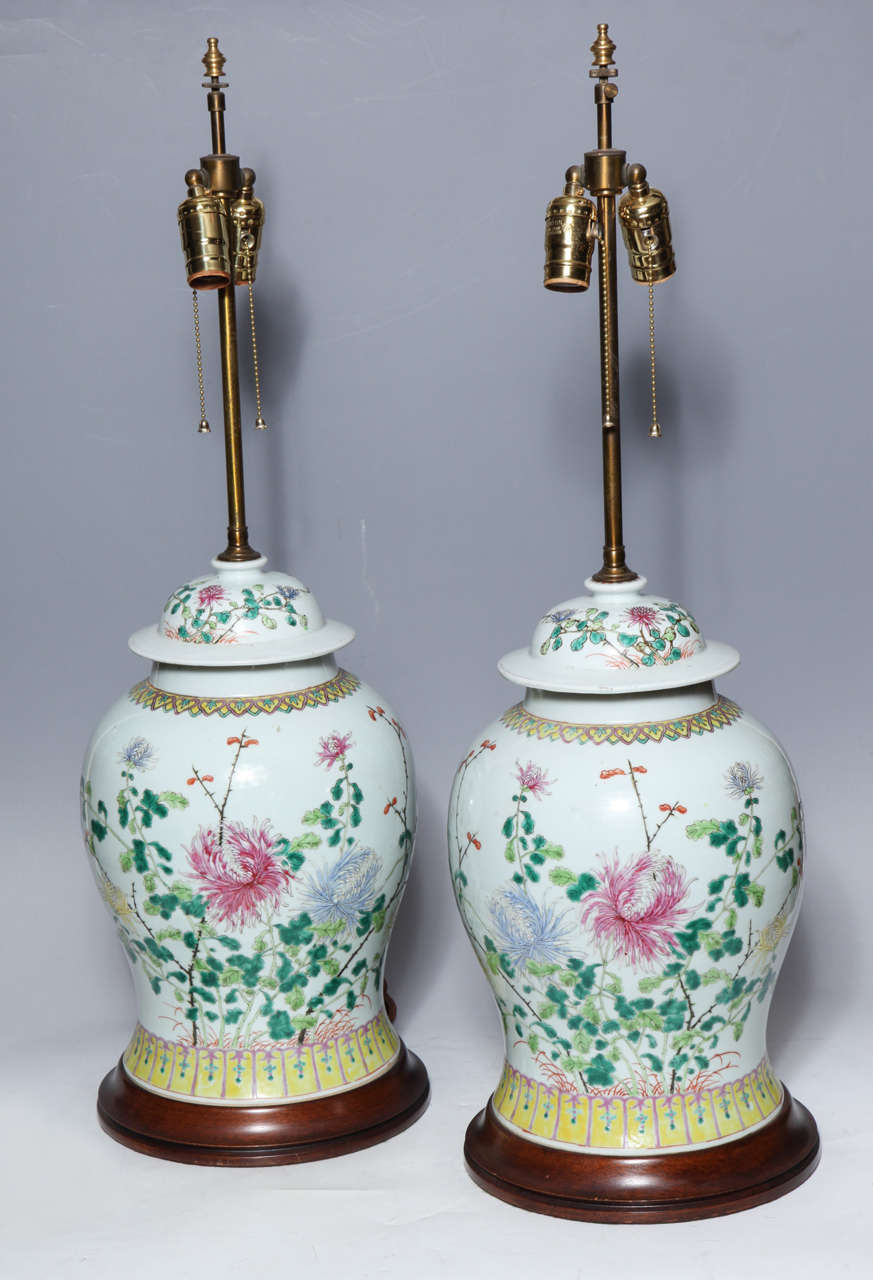 Pair of 19th century Chinese porcelain Ginger Jars converted into table lamps with wood bases. The pair is beautifully painted with delicate images of flowers and green leaves.