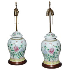 Pair of 19th Century Chinese Porcelain Ginger Jars Converted into Table Lamps