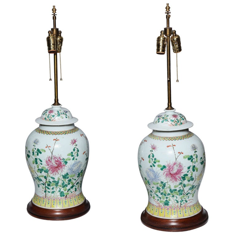 Pair of 19th Century Chinese Porcelain Ginger Jars Converted into Table Lamps For Sale