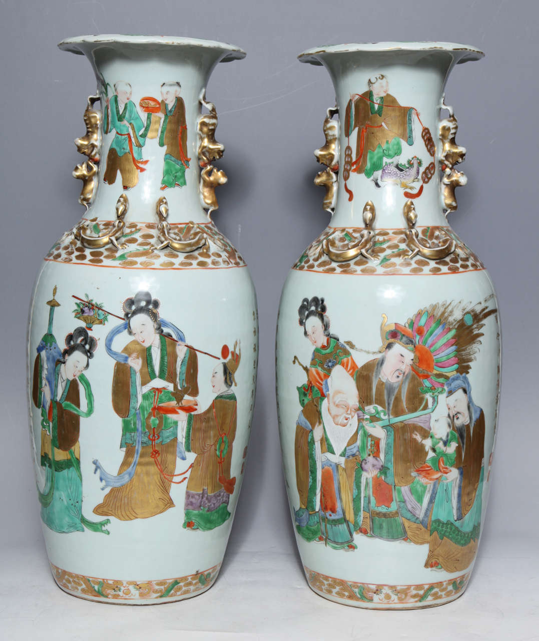 Pair of chinese porcelain vases with painted figures and chinese pair of chinese porcelain vases with painted figures and chinese poems in gold the gilt floridaeventfo Choice Image