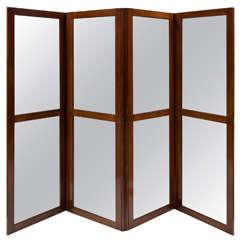 Walnut and Glass Four Paneled Screen