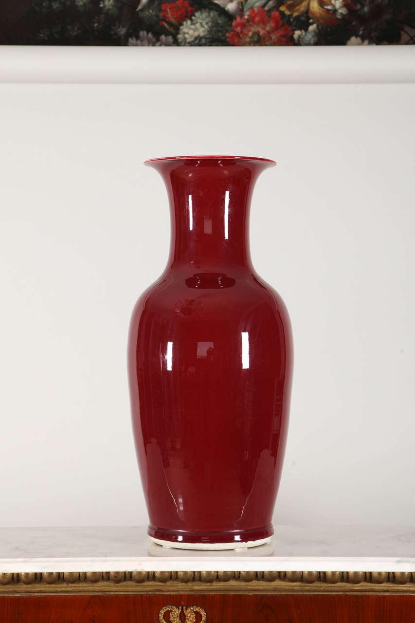 pair of large sang de boeuf glazed vase early 20th century at 1stdibs. Black Bedroom Furniture Sets. Home Design Ideas