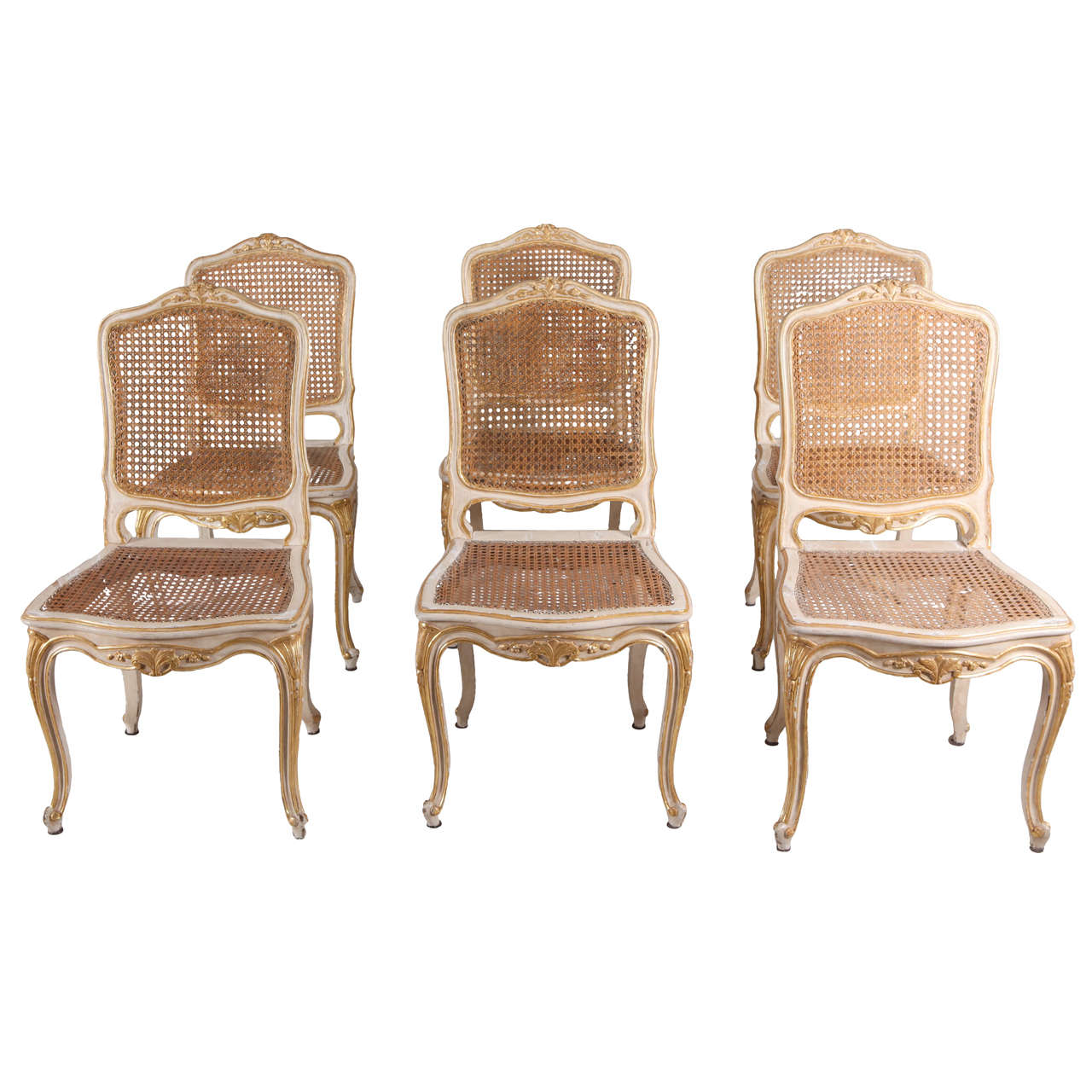 Set of Six French 19th Century Ivory Painted and Parcel-Gilt Chairs