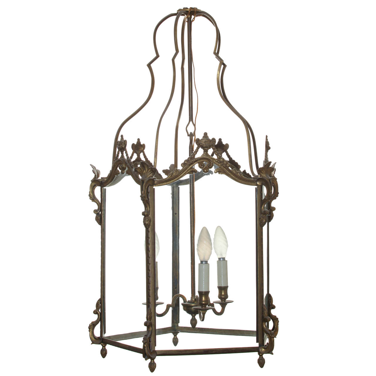 Louis XV Style Gilt Bronze Hexagonal Hall Lantern