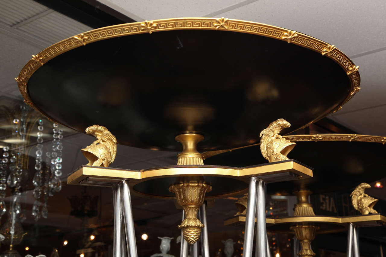 Pair of Palatial Bronze and Steel Empire Style Torchieres For Sale 2