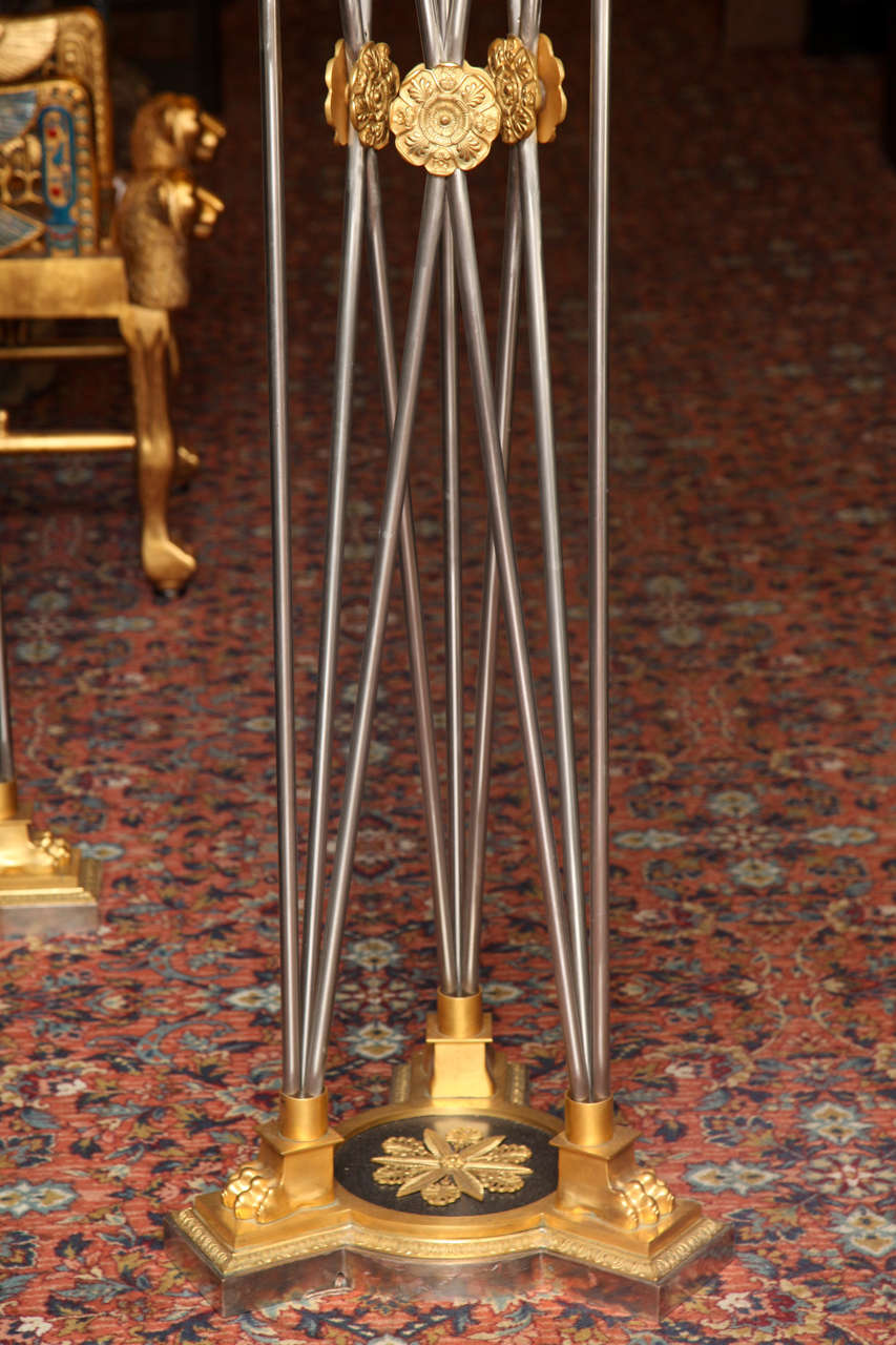Pair of Palatial Bronze and Steel Empire Style Torchieres For Sale 5