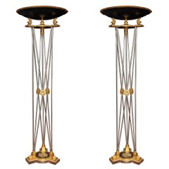 Pair of Palatial Bronze and Steel Empire Style Torchieres