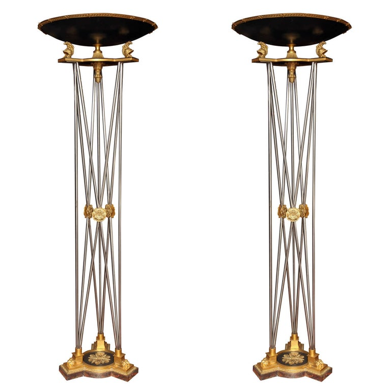 Pair of Palatial Bronze and Steel Empire Style Torchieres For Sale