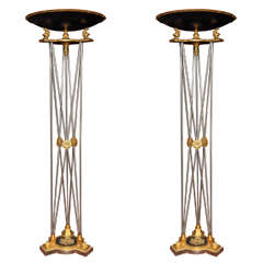 Pair of Palatial Bronze and Steel Neoclassical Style Torchieres