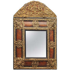 Exceptional Louis XIV Period Burl Walnut and Bronze Mirror, circa 1710