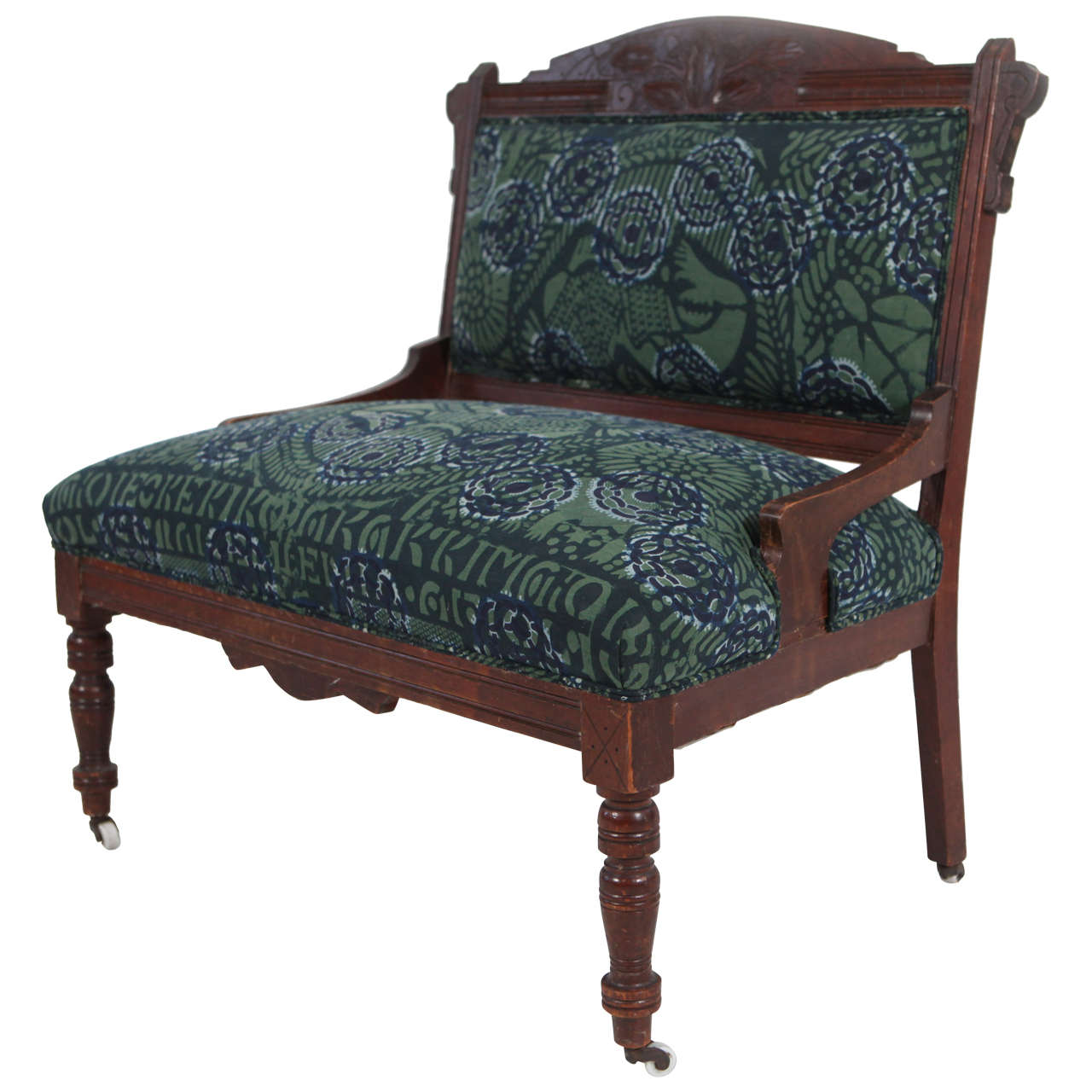 Vintage eastlake style settee upholstered in african for Furniture styles